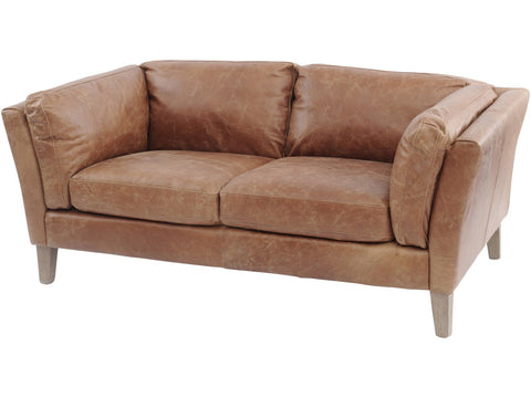 Botanical Tan Leather Two Seater Sofa
