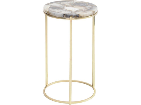 Agate Round Side Table on Brass Frame