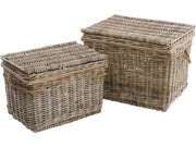 Toba Set Of Two Rattan Hampers With Rope Handles
