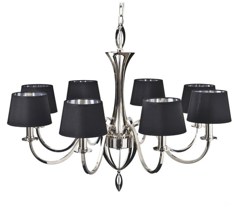 Aperfield Nickel Chandelier with Black Shades