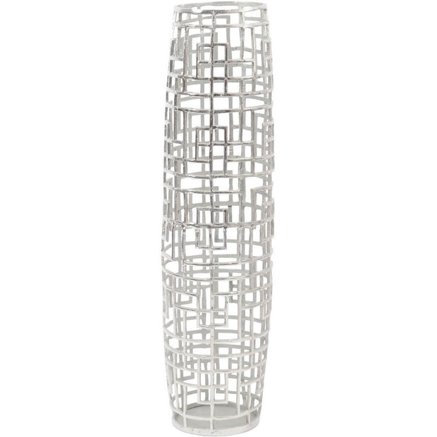 Timor Silver Grid Large Barrel Vase