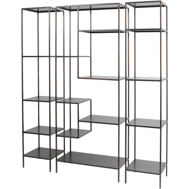 Fitzroy Bronze Narrow Modular Shelving Unit - Left