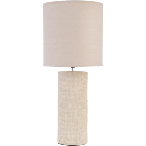 Tall Cream Textured Porcelain Table Lamp With Shade  E27 60W