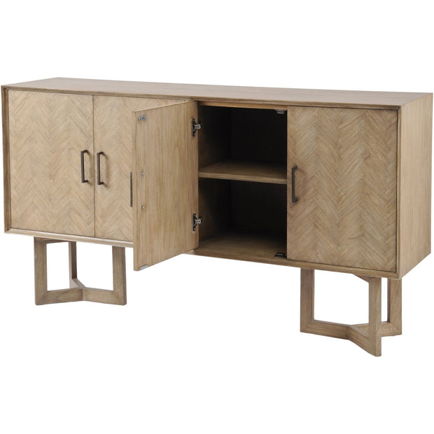 Dowell Four Door Mindi Wood Buffet Cabinet With Parquetry Design