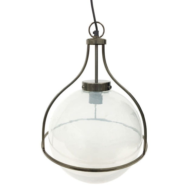 Jupiter Globe Pendant - Metallic Black Nickel Finish With Hammered Clear Glass