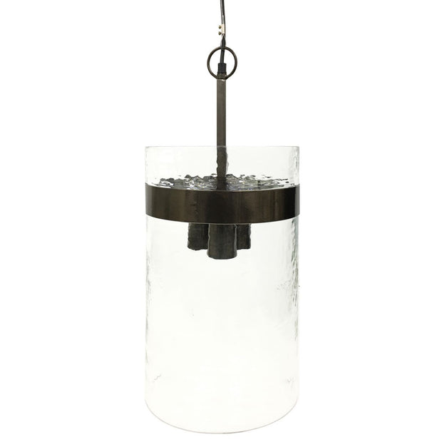 Atrium Three Light Glass Pendant - Metallic Black Nickel Frame