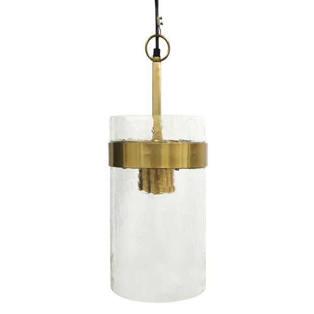 Atrium Three Light Glass Pendant - Metallic Champagne Frame