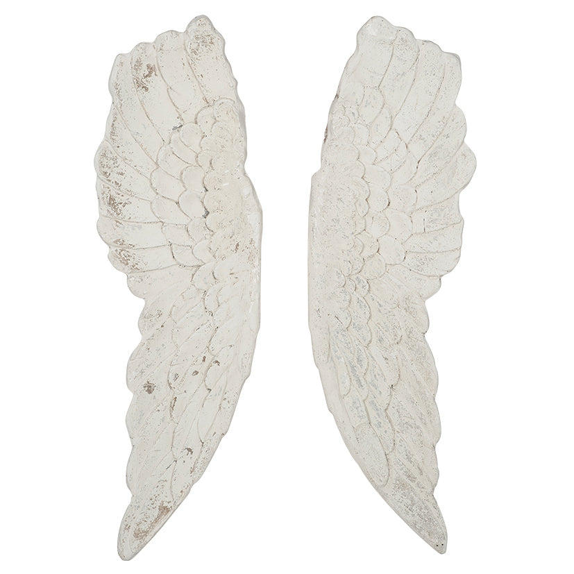 Angel Wings Rustic White Wall Art