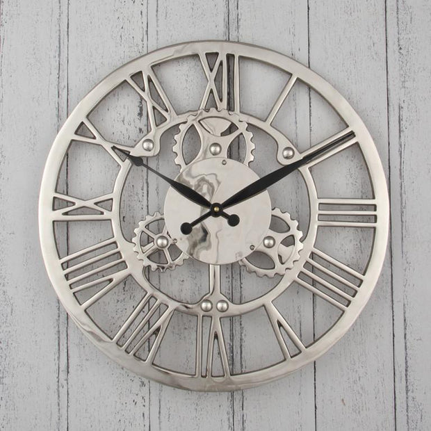Nickel Cog Wall Clock - Allissias Attic  &  Vintage French Style