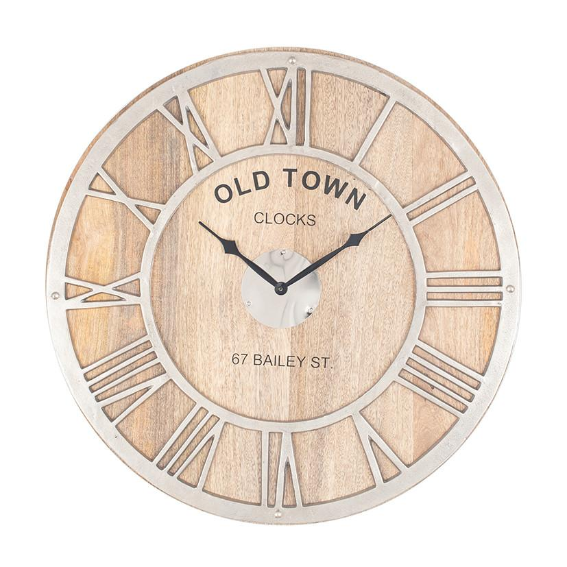 Old Town Timber & Nickel Clock - Allissias Attic  &  Vintage French Style