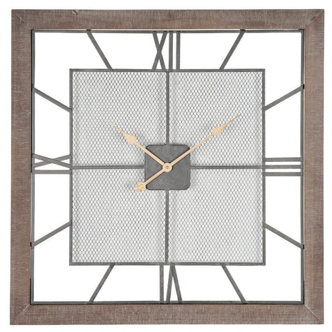 Natural Wood & Mesh Square Wall Clock
