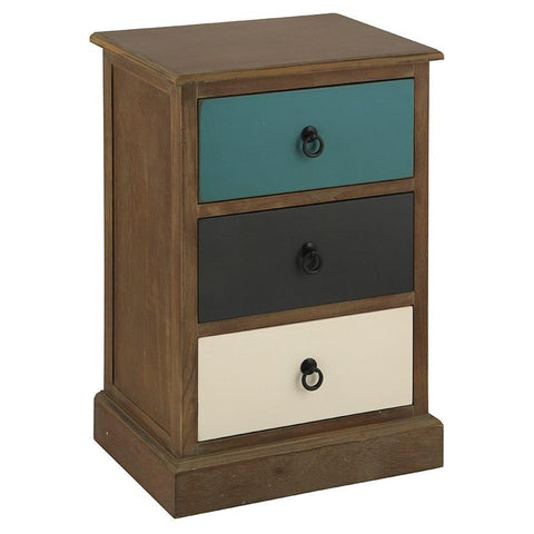 Multi Coloured 3 Drawer Bedside - Allissias Attic  &  Vintage French Style