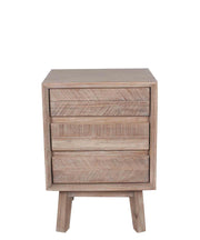 Acacia Wood 3 Drawer Bedside Table