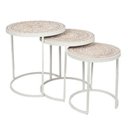 Boho White &Cream Side Tables - Set Of 3