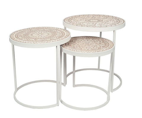 White & Cream Carved Floral Top Side Tables - Set Of 3