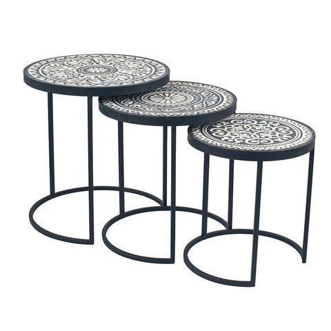 Boho Black &Cream Side Tables - Set Of 3