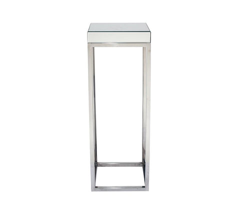 Silver Mirrored Glass & Metal Tall Pedestal Table