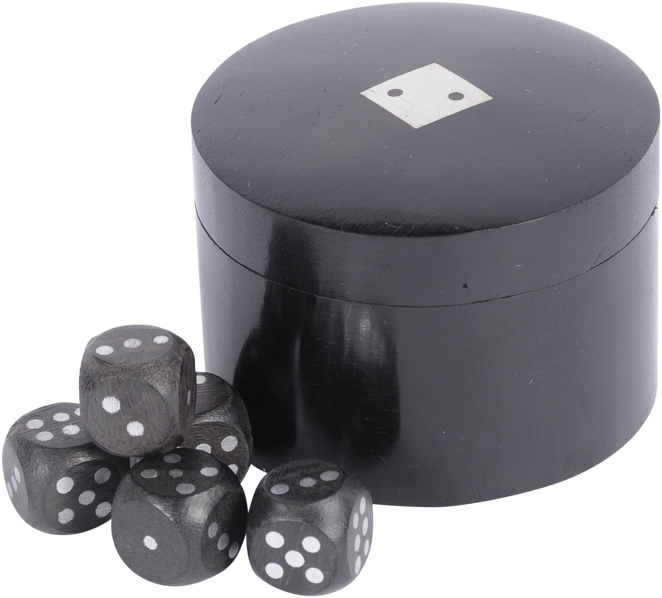 Black Wooden Dice in Round Timber Box