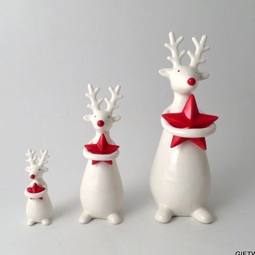 Standing Deer with Star Ceramic Ornament