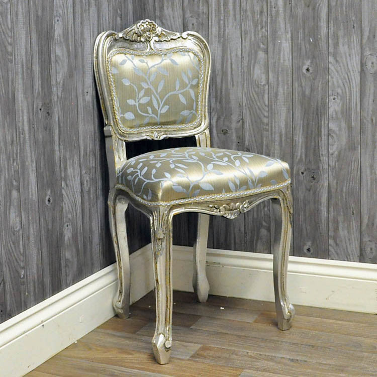 Louis Bedroom Chair - Silver Frame with Duck Egg Leaf - Allissias Attic  &  Vintage French Style