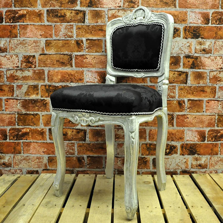 Louis Bedroom Chair - Silver Frame with Black Damask - Allissias Attic  &  Vintage French Style