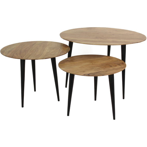 Wooden Nest of Tables - Set of 3
