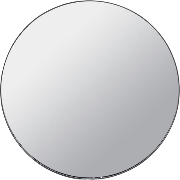 Round Black Metal Frame Mirror - Large