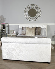 Crushed Velvet White Upholstered King Size Bed with Curved Detail