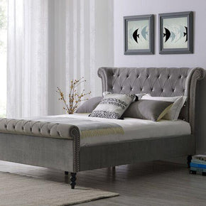 Ariel Silver Chesterfield Styled Bed - 3 Sizes