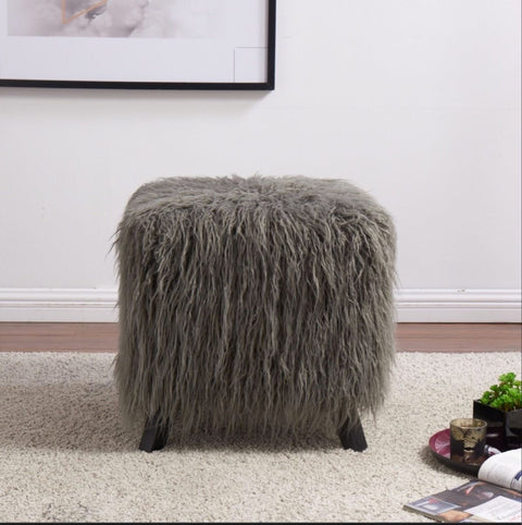 Faux Sheepskin Cube Stool - Grey