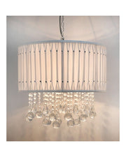 Drum Shade & Crystal Drop Ceiling Pendant - White