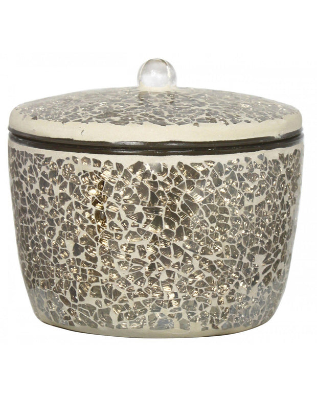Mercury Sparkle Mosaic Candle Holder with Lid