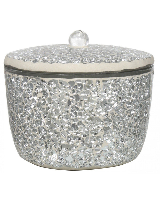 Silver Sparkle Mosaic Candle Holder with Lid