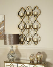 Gold Ornate 9 Tealight Wall Sconce