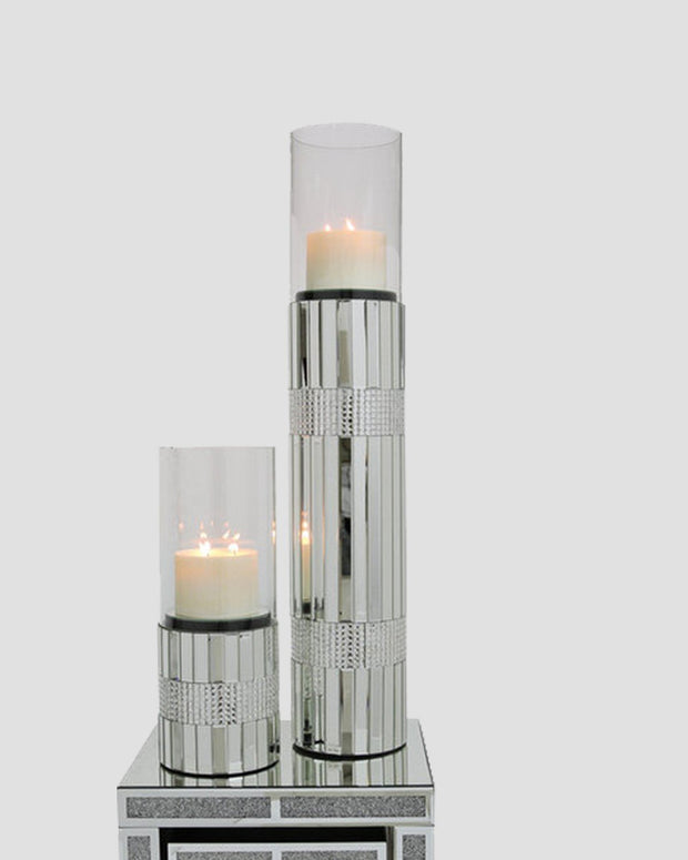 Extra Large Clear Glass Mirror Floor Standing Cylinder Candle Holder