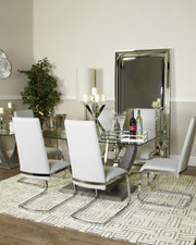 Grey Leonard Dining Table & six light grey Dining Chairs