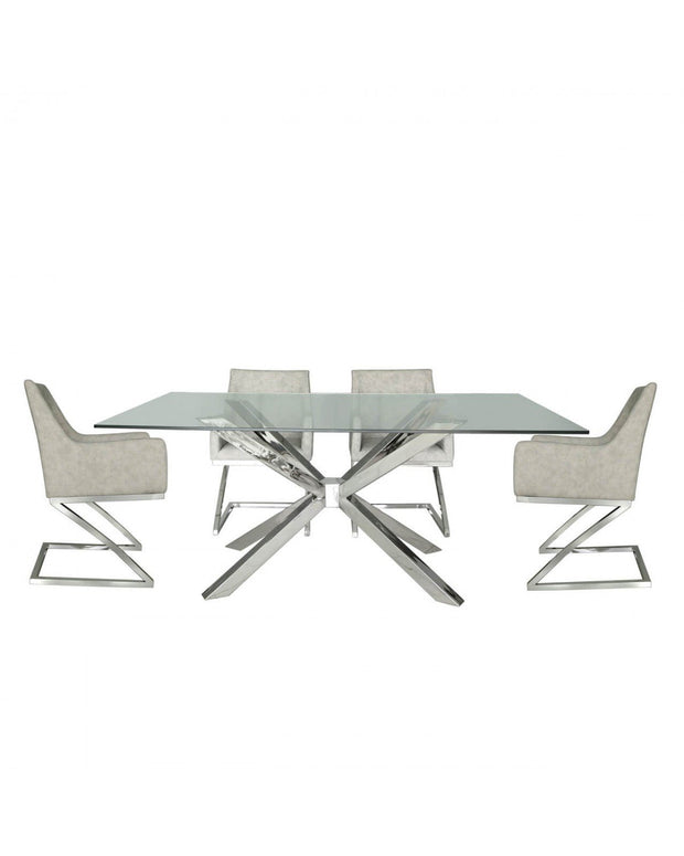 Glass & Chrome Dining Table with 4 Grey Chairs