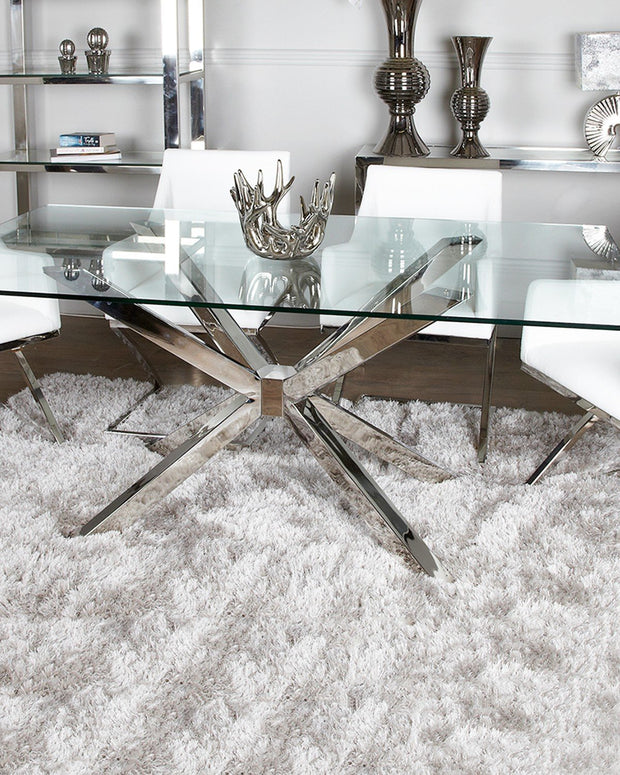Glass & Chrome Dining Table with 4 White Chairs