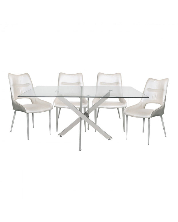 Glass Dining Table with 4 White Chairs