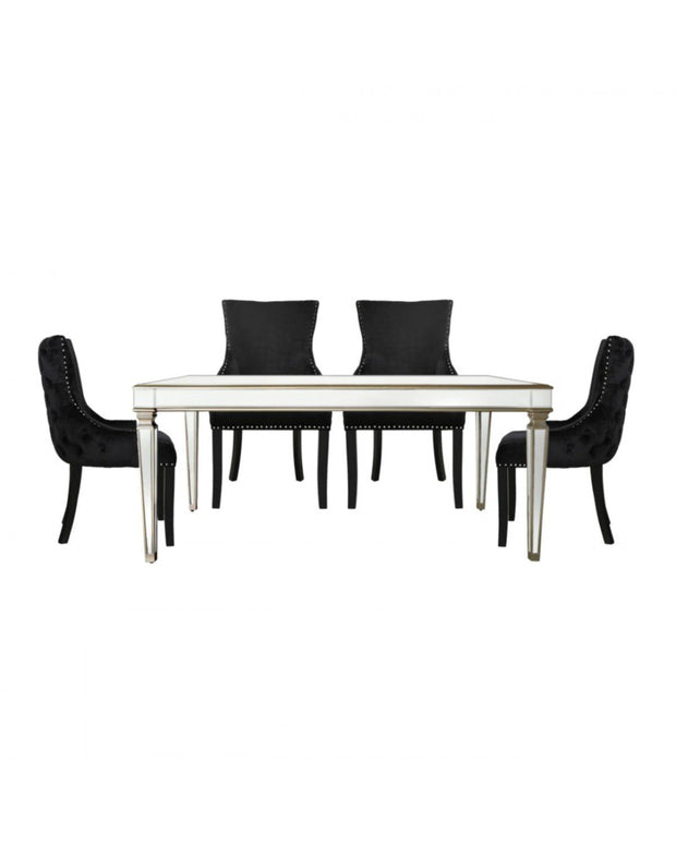 Champagne Venetian Mirrored Dining Table with 4 Chairs - Black
