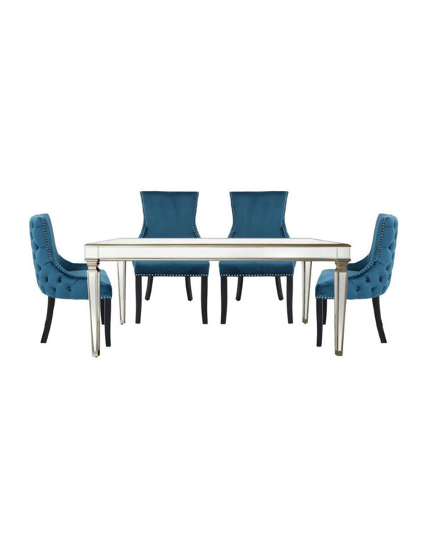 Champagne Venetian Mirrored Dining Table with 4 Chairs - Marine