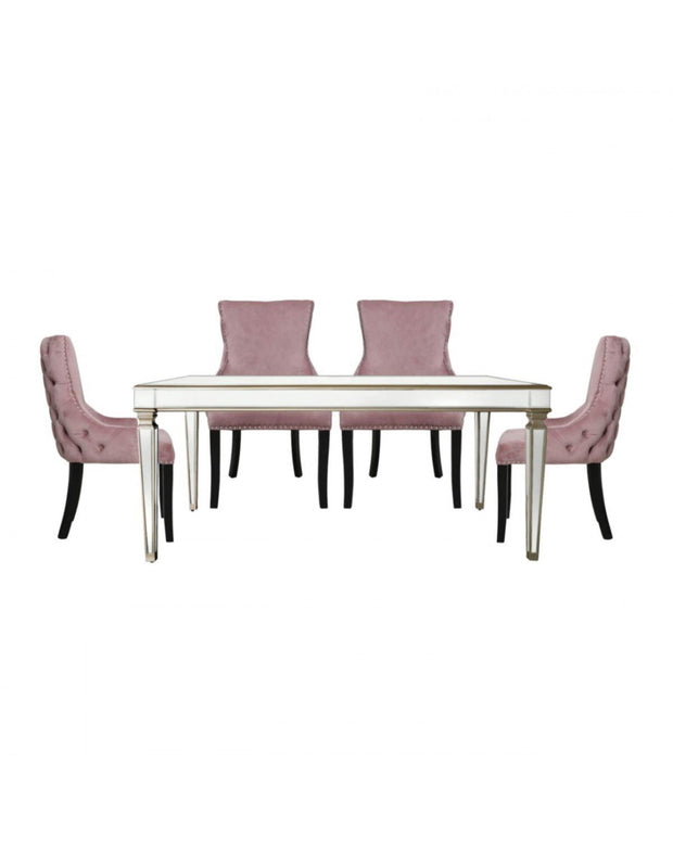 Champagne Venetian Mirrored Dining Table with 4 Chairs - Pink