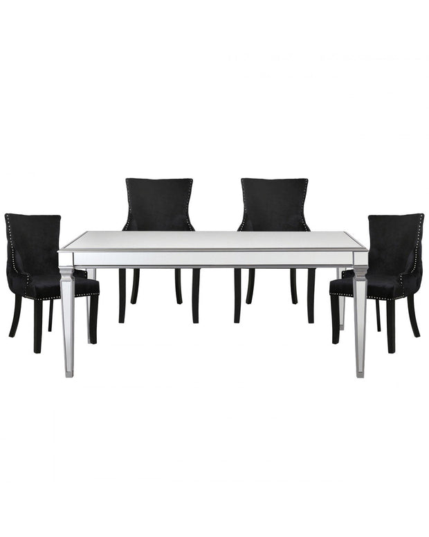 Silver Venetian Mirrored Dining Table with 4 Chairs - Black