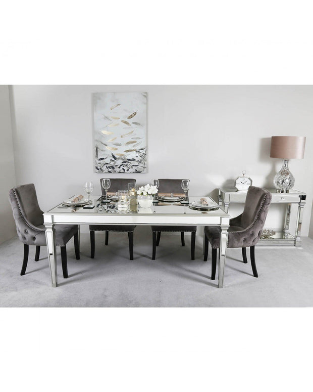 Silver Venetian Mirrored Dining Table with 4 Chairs - Grey