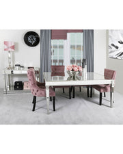 Silver Venetian Mirrored Dining Table with 4 Chairs - Pink