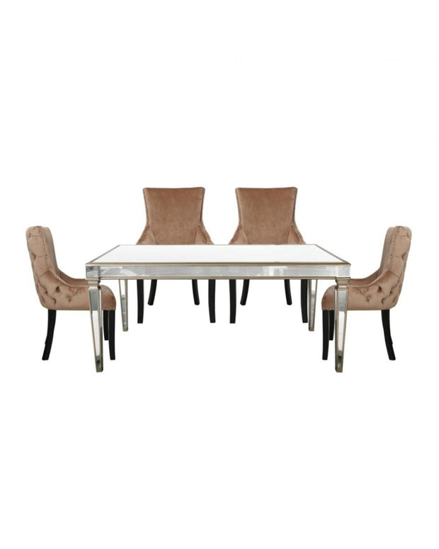 Champagne Venetian Mirrored Dining Table with 4 Chairs - Champagne