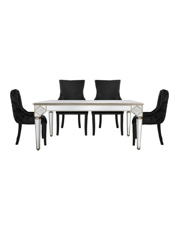 Marrakech Mirrored Dining Table + 4 Black Dining Chairs