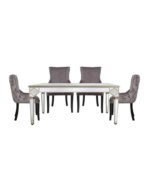 Morocco Mirrored Dining Table + 4 Grey Chairs