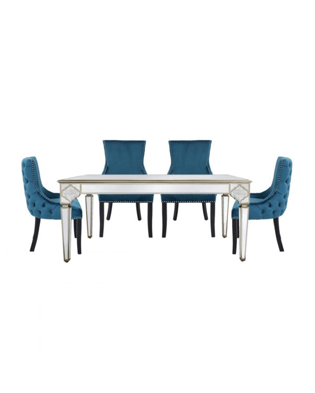 Marrakech Mirrored Dining Table + 4  Marine Dining Chairs