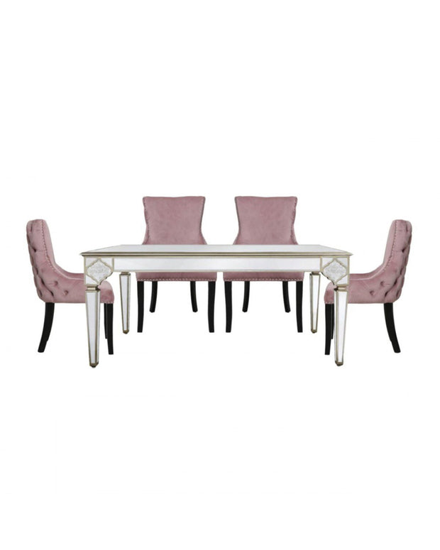 Morocco Mirrored Dining Table + 4 Pink Chairs